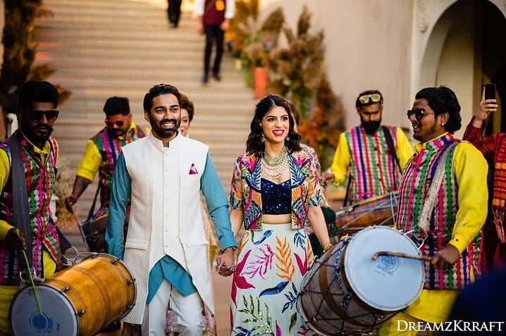 Classic dhol and nagada best bride and groom entry ideas for sangeet