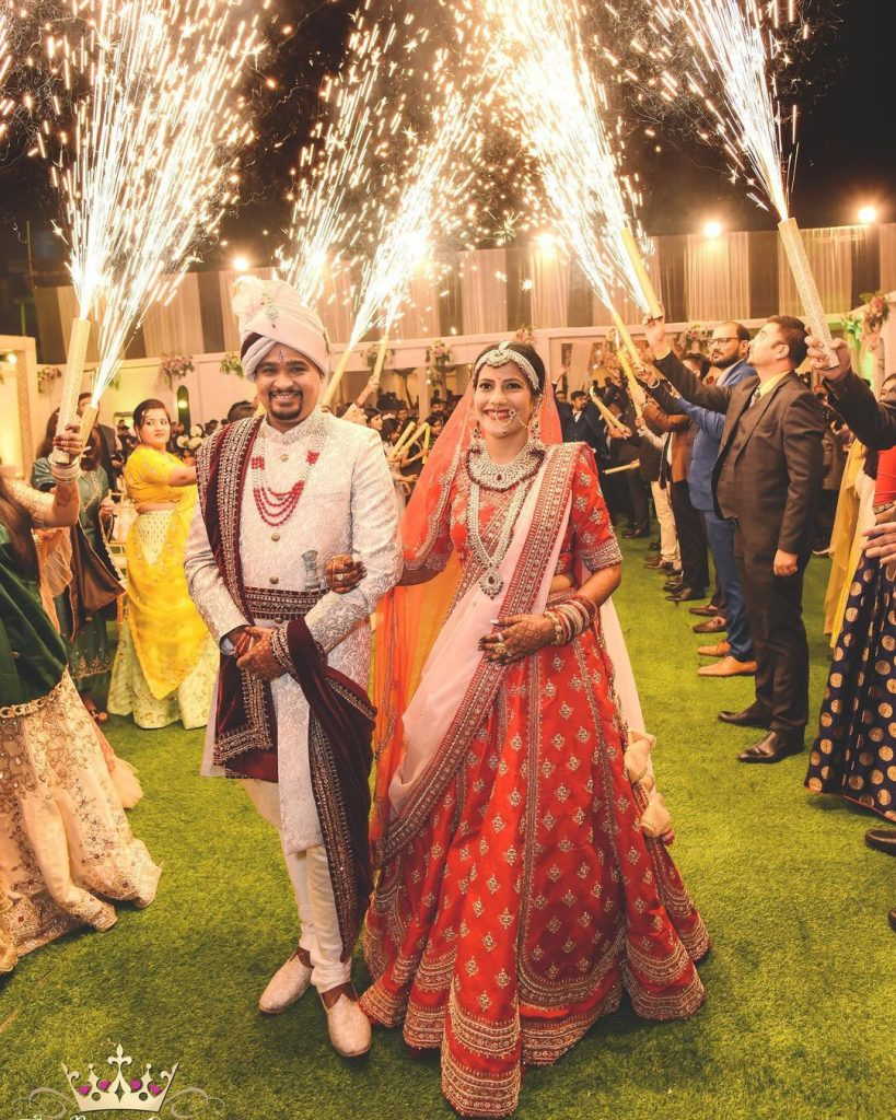 bridal entry with groom and fireworks