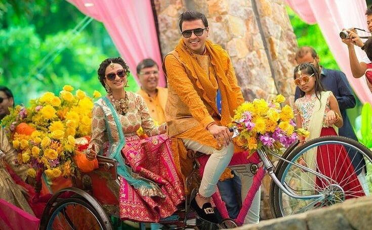 floral rickshaw bride groom entry concept