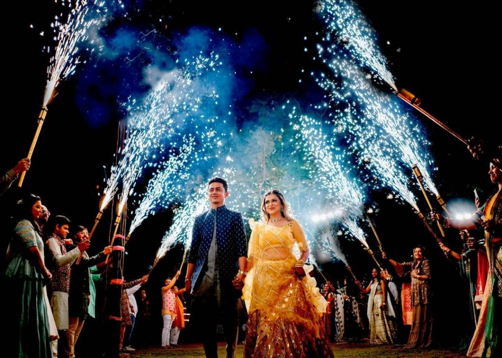 fireworks cold pyro bride and groom entry in sangeet