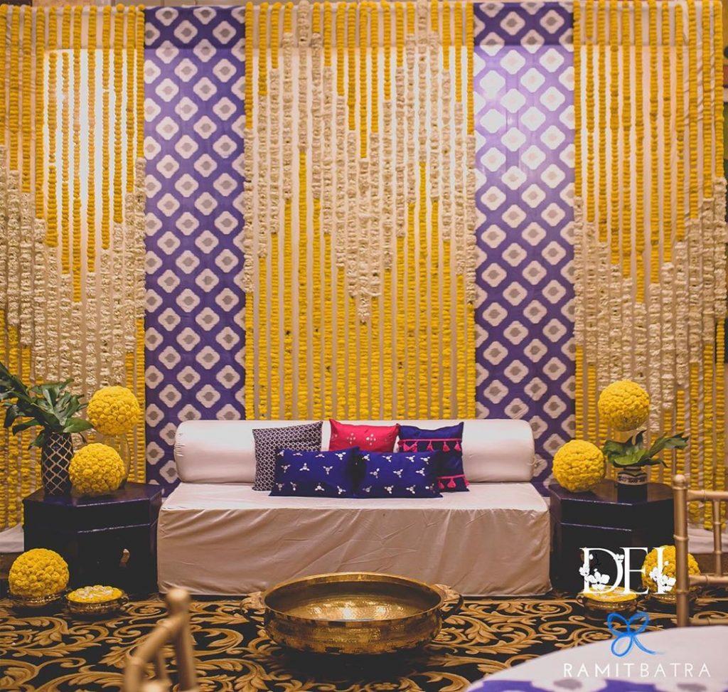Marigold and purple mehendi decoration
