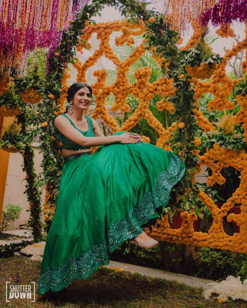 Marigold and vines as mehendi decoration ideas