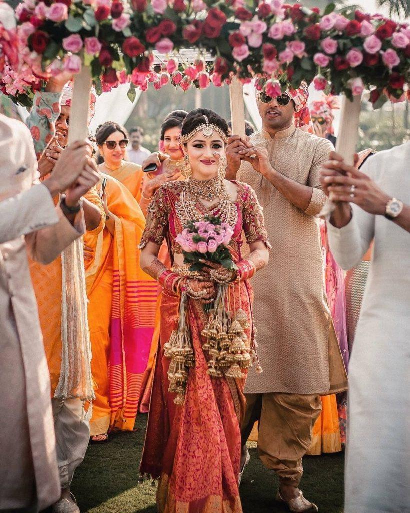 Elegant phoolon ki chaadar bridal entry idea