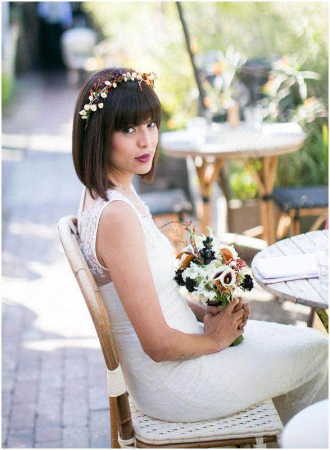 bride in fringe and bold lip colour