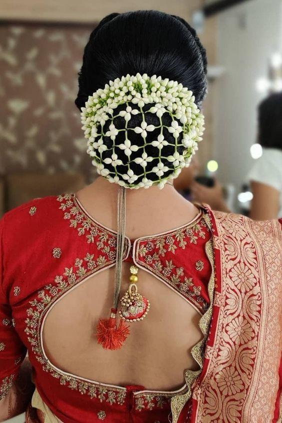 gajra jali bun cover for the bridal bun