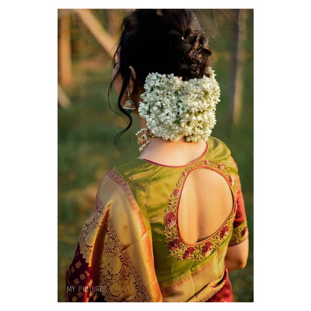 Saree Hairstyle with bun and gajra