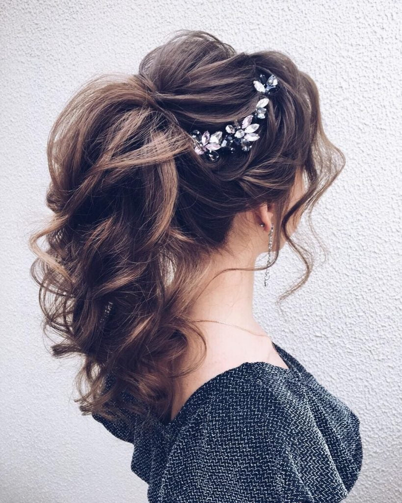 puffed ponytail bridal hairstyle for round face
