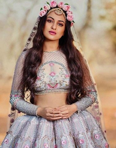 sonakshi sinha in a boho look with pink roses