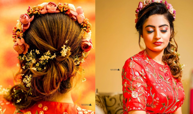 boho flower crown as a bridal hairstyle for round face