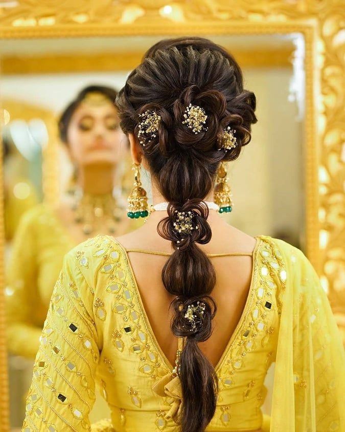 bride in yellow with open hairstyle