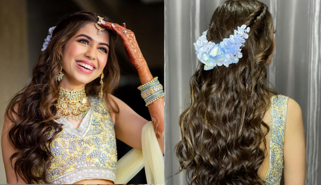 Half up half down bridal hairstyle for round face
