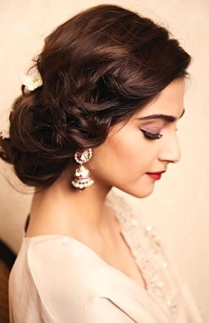 low side bun as a bridal hairstyle for round face