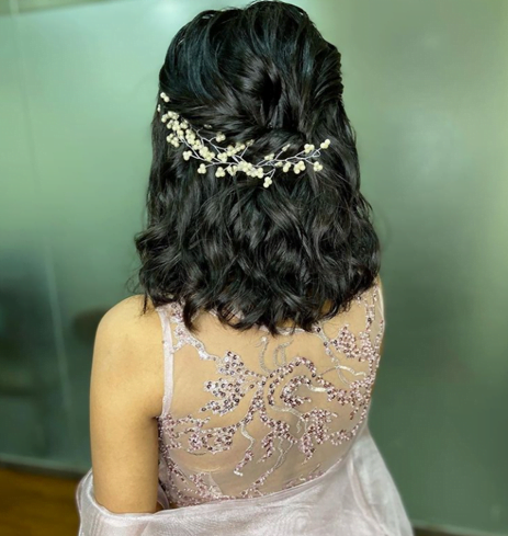 bride with short hair in a twisted hairstyle
