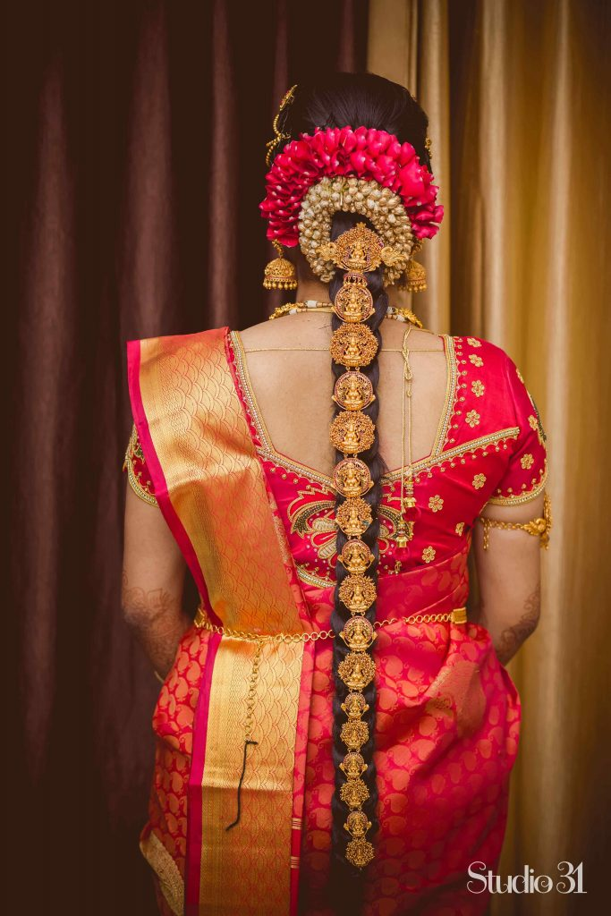 south indian bride in jadai hairstyle
