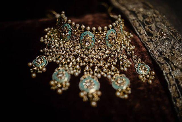 Meenakari choker necklace with gutta pasalu work