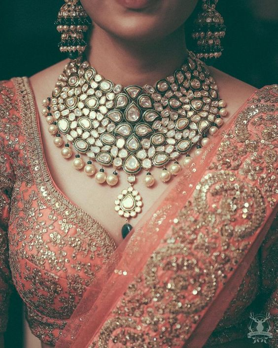 Beautiful jadau choker necklace with pearl and emerald drops