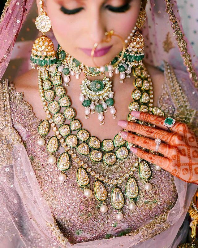 Long polki diamond Indian bridal jewelry with green enamelling