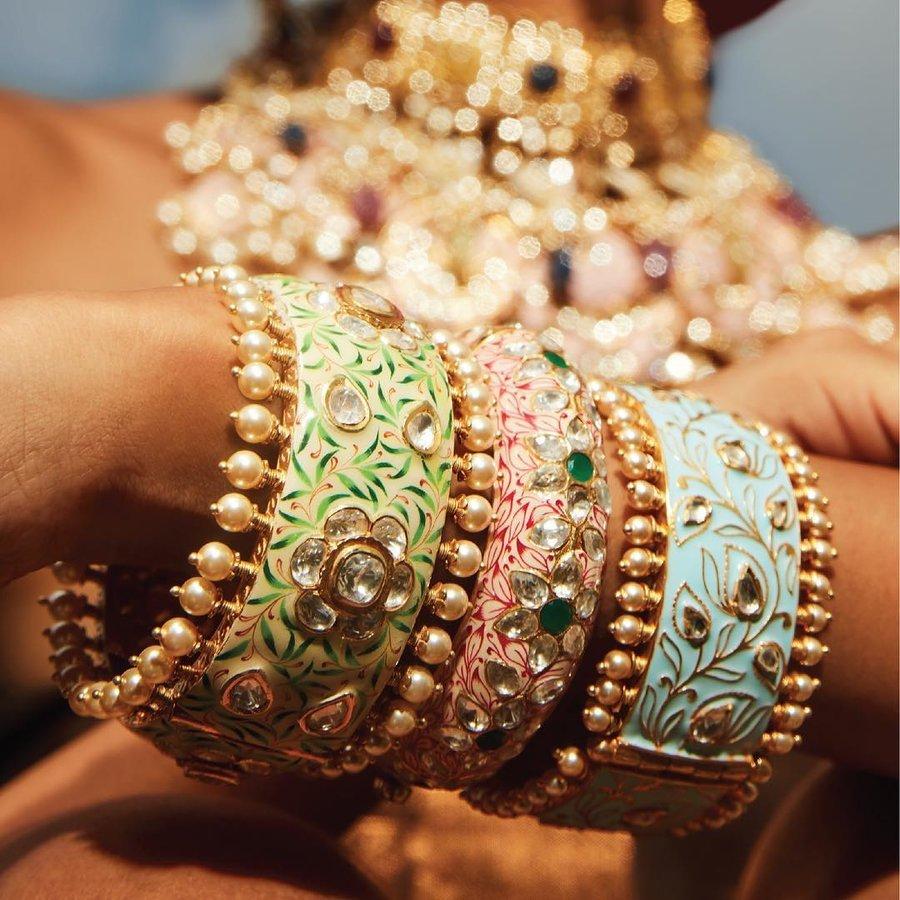 Meenakari bangle set to accessorize your indian bridal jewelry