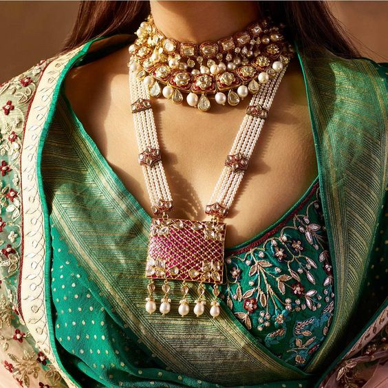 Meenakari long necklace with pearl strands and choker