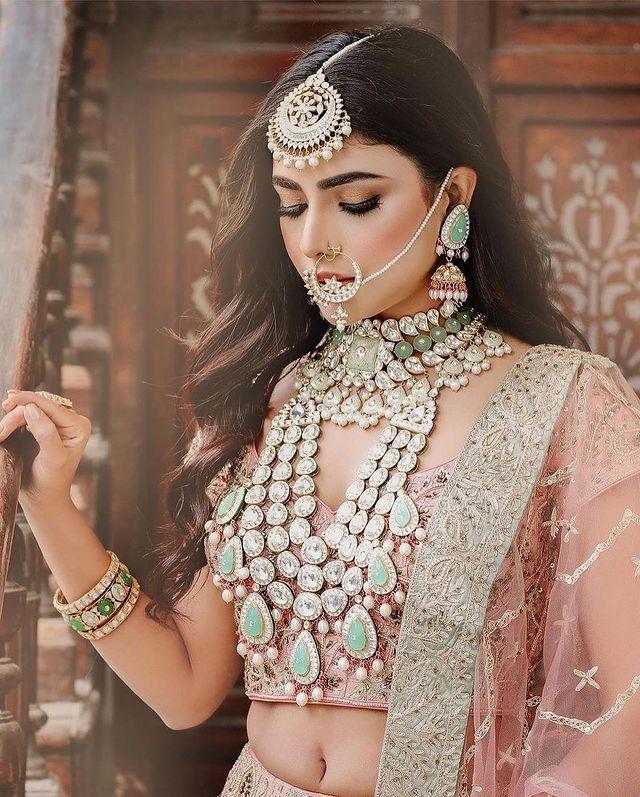 polki wedding jewelry set with uncut diamonds