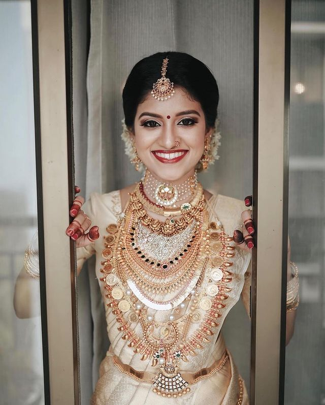 layered gold indian bridal jewelry for south indian brides