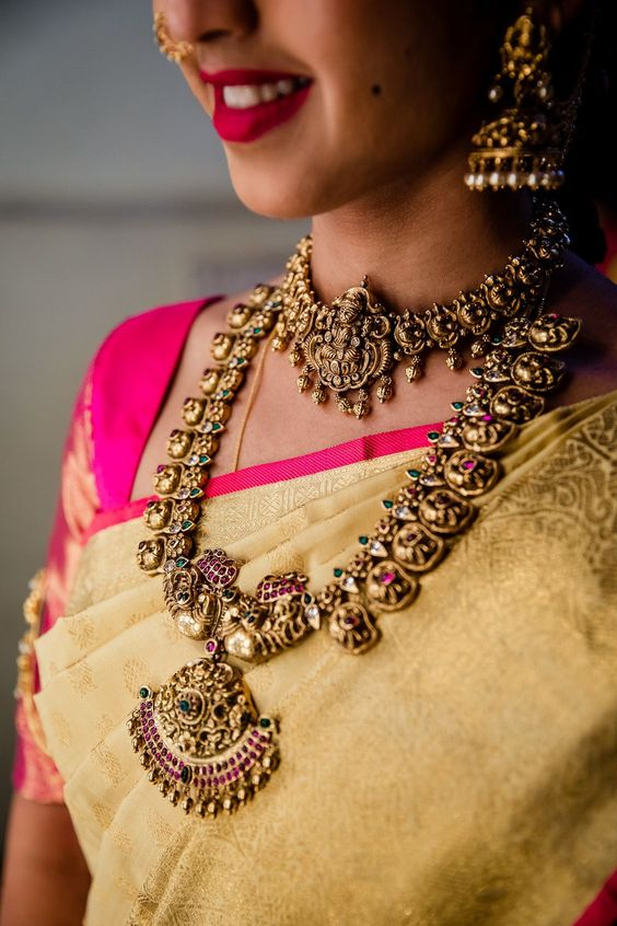 beautiful temple indian bridal jewelry with meenakari work