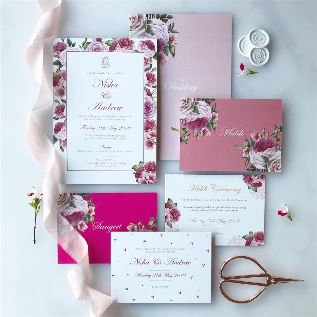 pink handmade invites for indian brides checklist for wedding planning